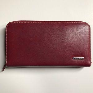 STRADA Red Zip Wallet